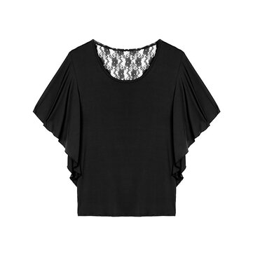 Women Casual Lace Patchwork ruches mouwen Losse T-shirt