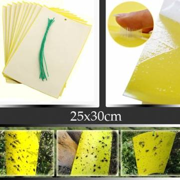 5pcs 25x30cm Yellow Insect Sticky Trap Whiteflies Aphids Thrips Garden Pest Control Tool