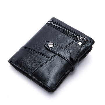 Mannen Zakelijk Genuine Leather Short Wallet Muntstukken Bag Credit Card Holder