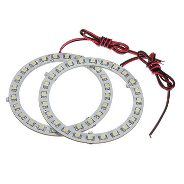Pair 12V White Angel Eyes Headlight for BMW 24SMD LED Ring Car Light