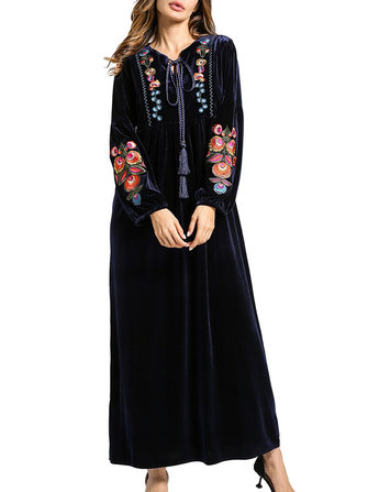 Embroidered V-Neck Velvet Maxi Dress
