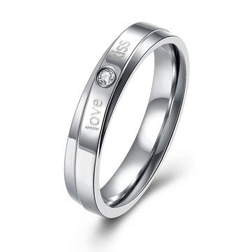 커플 연인 지르콘 링 실버 스테인레스 스틸 핑거 여성 남성 반지 좋은 보석 선물