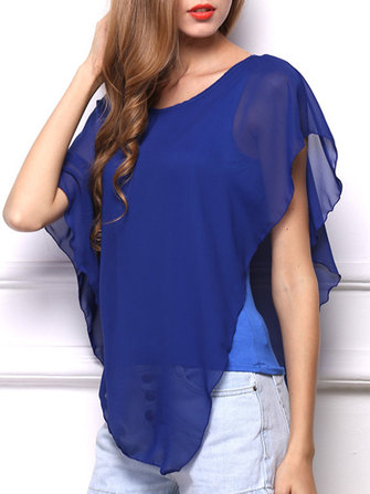 Buy Casual Women Scoop Neck Pure Color Irregular Ruffle Blouse