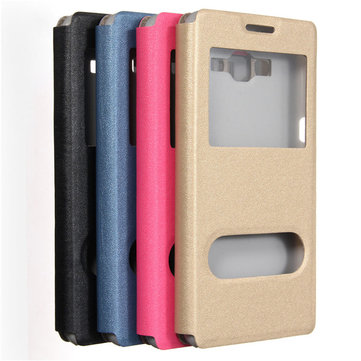 Dual Window Flip PU Leather Stand Cover Case For Samsung Galaxy Grand Prime G530H