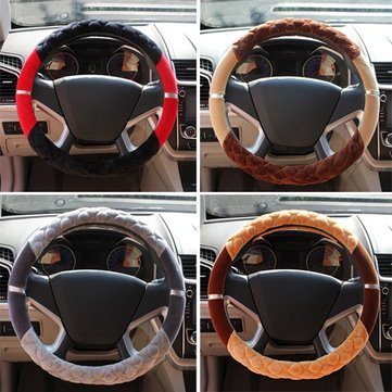 Car Football Paint Steering Wheel Cover Plush Skid Proof Grips with Silver Edge 38CM