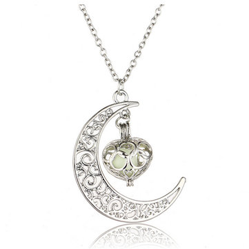 Trendy Steampunk Hollow Moon Glow In The Dark Luminous Women Necklace Gift