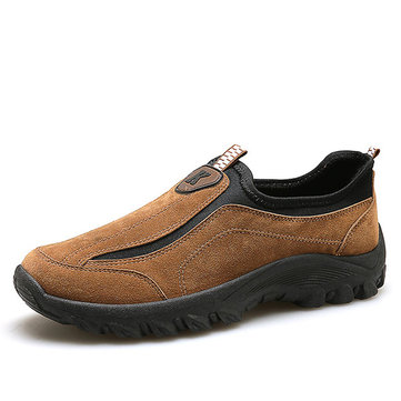 Mannen Suede Leather Elastic Slip On Outdoor Hiking Sneakers