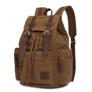 KAUKKO Canvas Genuine Leather Outdoor Big Capacity Shoulders Bag Backpack