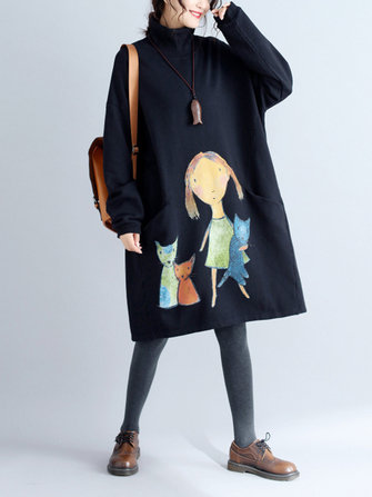 Plus Size Casual Women Girl and Cat Sweatshirts