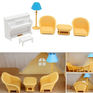 Dollhouse Sofa Piano Lijst Miniatuur Meubelsets Voor Sylvanian Family Accessoires Kids Gift Toys