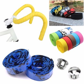 BIKIGHT Bike Cork Handlebar Tape with 2 Bar Plugs Bicycle Bar Wrap Ribbon