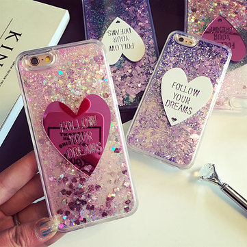 Glitter Liquid Quicksand Lovely Heart Ice Cream Crystal Clear Case voor iPhone 6 / 6s Plus 5.5