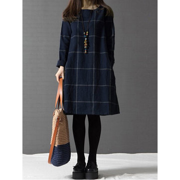 Casual Women Plaid Pocket Cotton Linen Dress