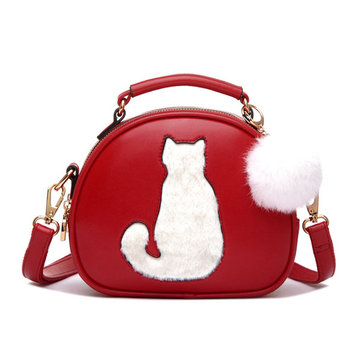 Vrouwen PU Leather Cute Cat Crossbody Bag Handtas Candy Kleur Bag