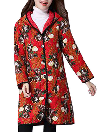 Vintage Women Long Sleeve Printed Hooded Ethnic Button Pocket Long Coat