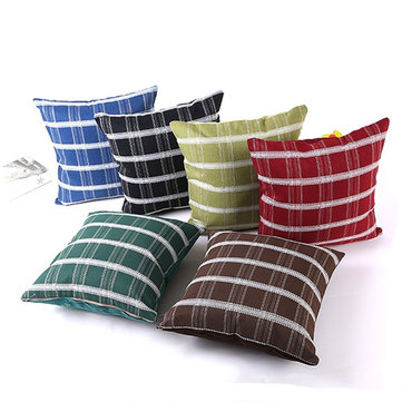 45x45cm Flax Lattice Stripes Durable Pillow Case Linen Cotton Cushion Snap Pillow Cover