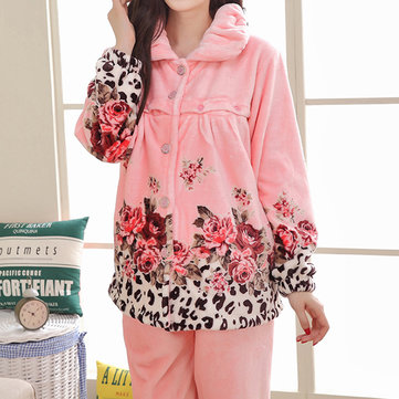 Woman Cozy Thicken Flannel Nursing Nightwear Collar Breast-feed Sleepwear Sets For New Mother