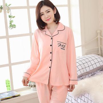 Woman Comfy Cotton Collar Cardigan Homewear Letter Printed Long Sleeve Sleepwear Sets
