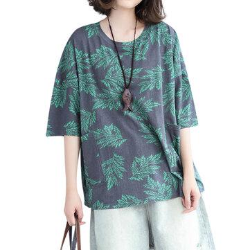 느슨한 여성 탑 캐주얼 리프 프린트 포켓 코튼 티셔츠