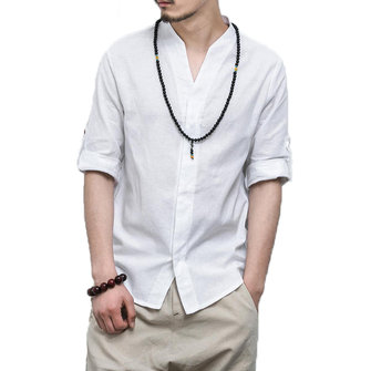 Mens V Neck Linen Three Quarter Sleeve Casual Shirts