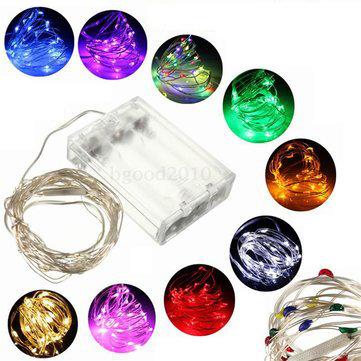 3 м 30 LED серебряных проводных многокрасочных свадебных рождественских обстановок дерева гирлянды последовательности с батарейным питание