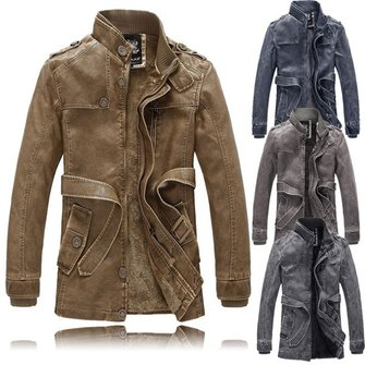 Men Fashion Motorcycle Winter Thick Warm Vintage PU Leather Jackets Trench Coat