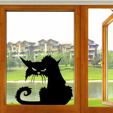 هالوين مخيف القط الأسود ملصقا زجاج هالوين ديكور
