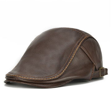 Одежда Mens Genuine Cowhide Leather Beret