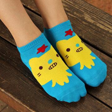 1 par mujeres niñas calcetines calientes patrón de animales mezcla de algodón de dibujos animados lindo de calcetería