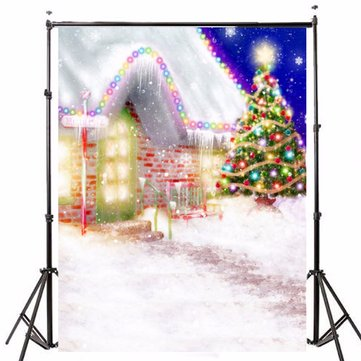 1.5x2.1m Photography Background Vinyl Fabric Christmas House Tree LED Light