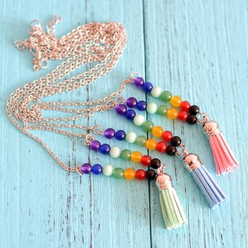 Fashion Natural Stone Colorful Buddha Beads Tassel Necklace 8Mar