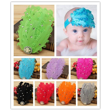 Baby Girl Kids Goose Cute Shinning Diamond Pearl Feather Hair Headbrand 8 Color Wearing Accessories
