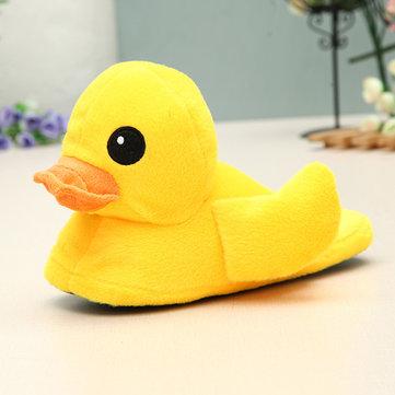 Women Winter Keep Warm Plush Cotton Lovely Yellow Duck Home Indoor Slipper