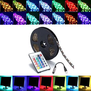 0.5/1/2/3/4/5M SMD5050 RGB LED Strip Lamp Bar TV Backlilghting Kit + USB Remote Control DC5V