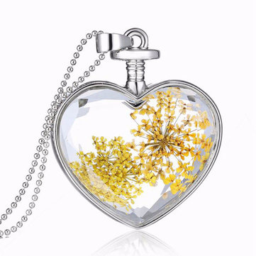 Heart glass dry flower pendant necklace alloy jewelry christmas heart glass dry flower pendant necklace alloy jewelry christmas gift aloadofball Choice Image