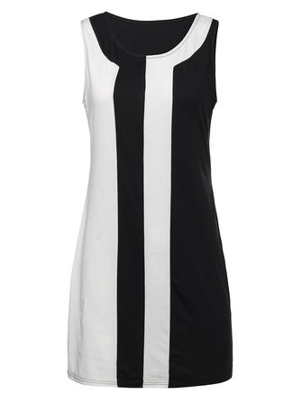 Elegant Women Sleeveless Color Block Party Bodycon Mini Dress