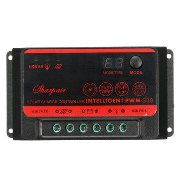 10a / 20a / 30a LCD porta solare controllore USB doppio 12V / 24V regolatore della batteria auto
