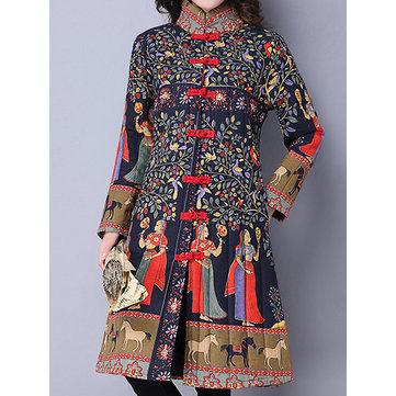 Gracila Урожай Женщины китайская лягушка стенд воротник Печатные с длинным рукавом Пальто