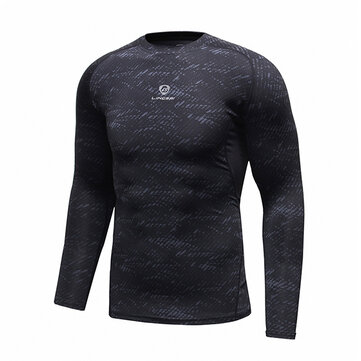 Mens Fitness Training Quick Drying Stretch T-shirt Tight Long Sleeve Sport Tees