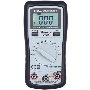 MUSTOOL MT833 2000 Counts Multímetros Digitales de Rango Automático Digital Tester Multi-DC Diodos de Resistencia de Corriente Probador de Continuidad Audible de Transistor con LCD Retroiluminado