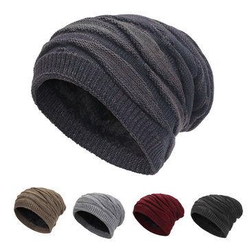 Unisex Winter Warm Baggy Woolen Yarn Knit Hat Outdoor Cycling Skiing Cap Fashion Beanie Ski Hat