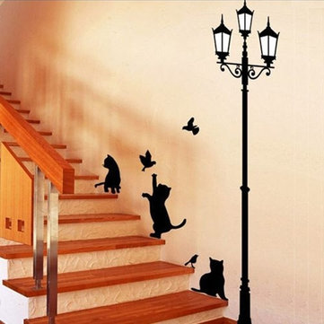 50x70CM Lamp Cat Wall Stickers Home Stairs Sticker Decor Decorative  Removable Wall Decal Part 40