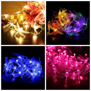 Battery Powered 2.5M 5M Dragonfly LED Fairy String Lights for Christmas Wedding Party DC4.5V