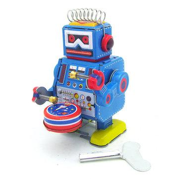 Klassieke Vintage Clockwork Wind up Drum Speel Robot Reminiscence Kinderen Kinder Tin Speelgoed Met Sleutel