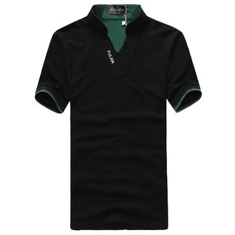 Mens Cotton V Neck Solid Color Classic Color Splicing Collar Polo Shirts