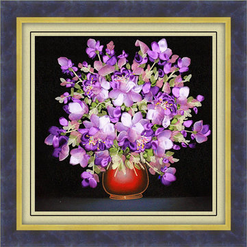 50x50cm 3D Silk Ribbon Purple Flower Cross Stitch Kit Embroidery DIY Handwork Home Decoration