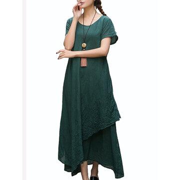 vendimia Mujer vestidos maxi sueltos de manga corta de color puro bordado