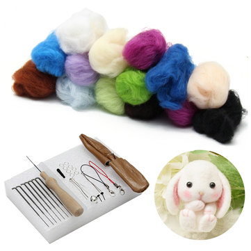25 Colors Wool Fiber Felting Needle Kits DIY Tools Craft Learner Design Decoration