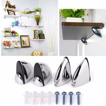 Polished Chrome Glass Shelf Support Clamp Brackets Bathroom For Shelves