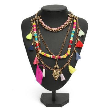 Colorful Wood Beads Tassel Necklaces Unique Collar Statement Necklaces
